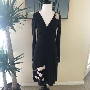 {Synergy Organic} Cherry Blossom Black Midi Dress